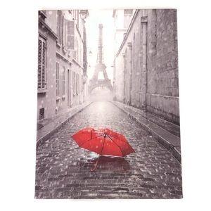 Eiffel Tower Red Umbrella Wall Art NWOT
